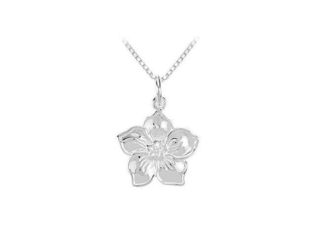 Diamond Flower Pendant - 14K White Gold - 0.02 CT Diamond