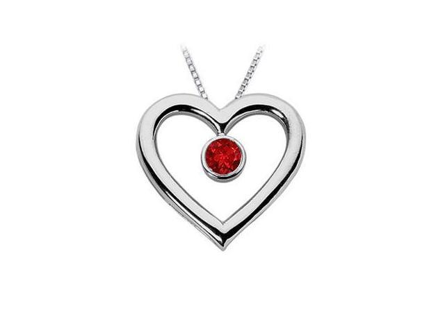 Ruby Heart Pendant  14K White Gold - 0.75 CT TGW