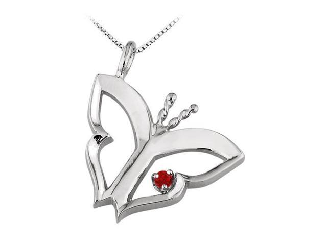 Butterfly Pendant Necklace  with Created Ruby in Sterling Silver 0.15 CT TGW.