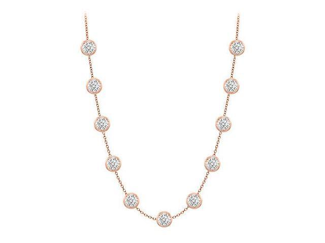 Diamonds By The Yard Necklace in 14K Rose Gold Bezel Set 3.50 ct.tw