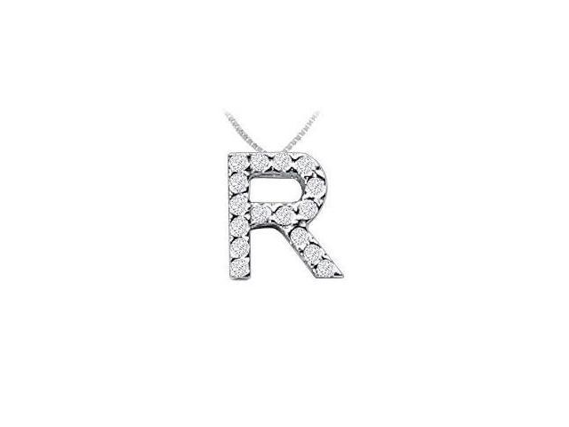 CZ Initial Sterling Silver R Pendant