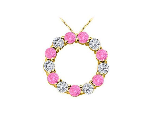 2 Carat Diamond and Pink Sapphire Circle Necklace in 14k Yellow Gold