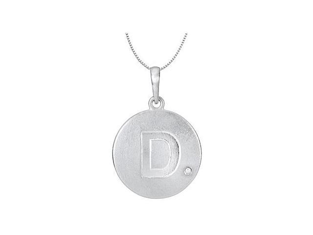Block Letter D Disc Pendant with Single Diamond Accent in 14K White Gold High Polished