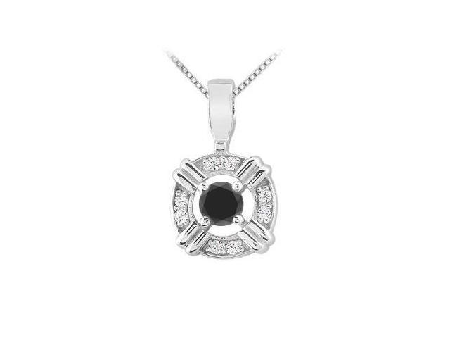 .925 Sterling Silver Pendant with Black Onyx and Cubic Zirconia 0.25 Carat TGW