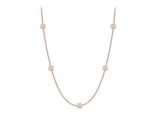 Diamonds By The Yard Necklace in 14K Rose Gold Bezel Set 0.10 ct. tw