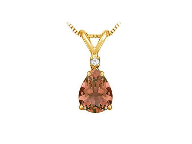 Diamond and Smoky Topaz Solitaire Pendant  14K Yellow Gold - 1.00 CT TGW