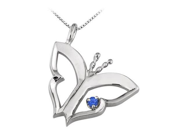Butterfly Pendant Necklace  with Created Sapphire in Sterling Silver 0.15 CT TGW.