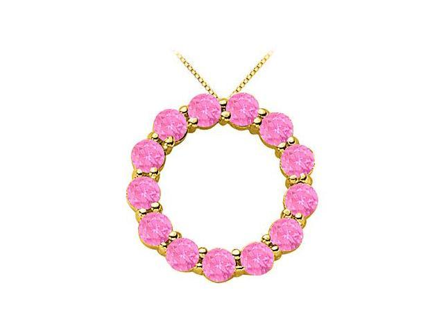 Pink Sapphire Circle of life Pendant in Yellow Gold 14K Total Gem Weight of 2 Carat
