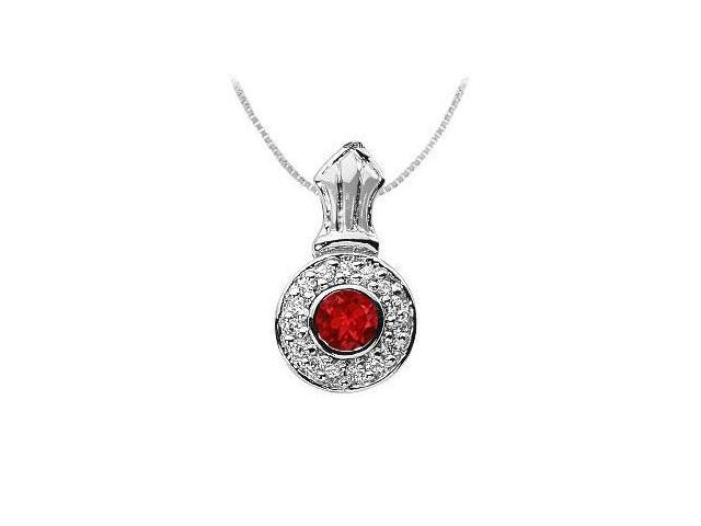 Ruby and Diamond Pendant  14K White Gold - 1.35 CT TGW