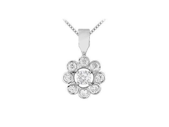 Flower Pendant with Cubic Zirconia in Rhodium Treated .925 Sterling Silver 0.20 Carat TGW