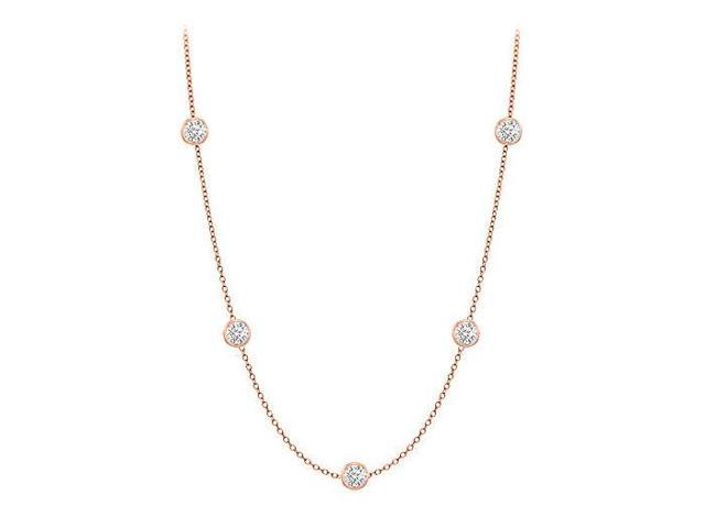 Diamonds By The Yard Necklace in 14K Rose Gold Bezel Set 0.25 ct.tw