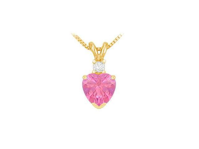 Diamond and Pink Topaz Solitaire Pendant  14K Yellow Gold - 1.00 CT TGW