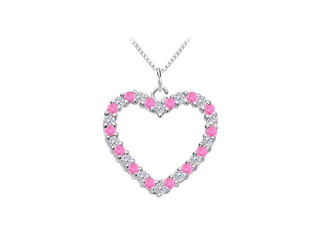 14K White Gold Heart Pendant with Diamond and Pink Sapphire of 0.75 Carat Total Gem Weight
