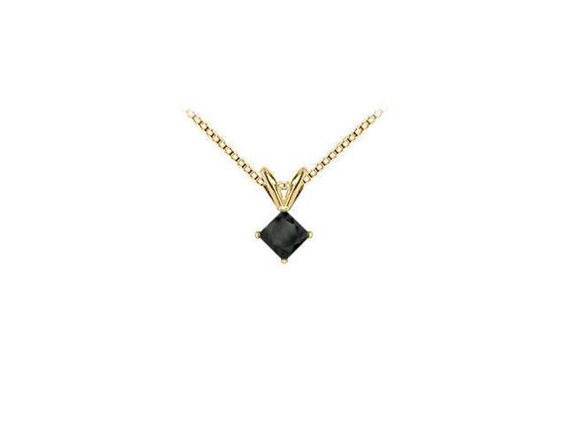 14K Yellow Gold  Princess Cut Black Diamond Solitaire Pendant - 1.25 CT. TW.