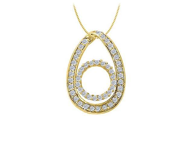 Cubic Zirconia Tear Drop Fashion Pendant in Gold Vermeil over Sterling Silver 0.50 CT TGW