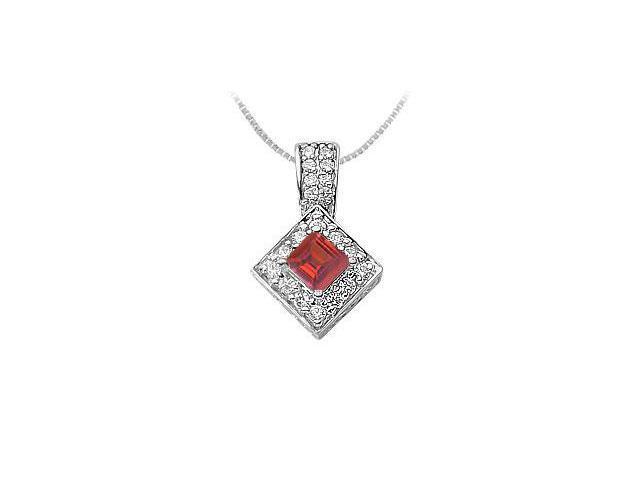 Ruby and Diamond Pendant  14K White Gold - 0.75 CT TGW