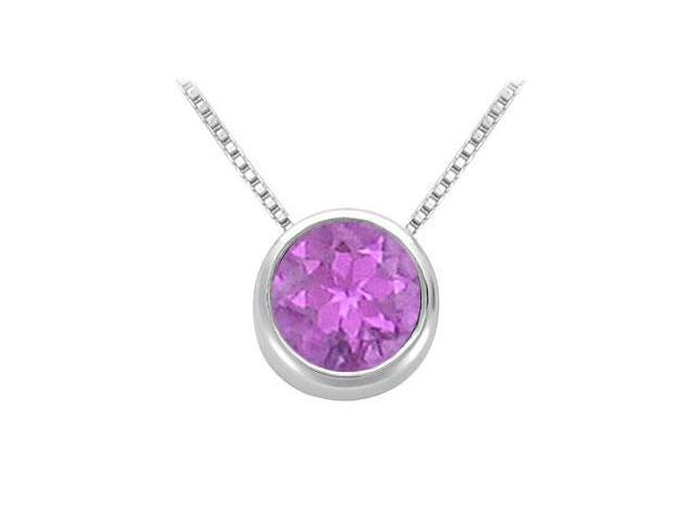 Amethyst Solitaire Pendant in 14kt White Gold 1.00.ct.tgw