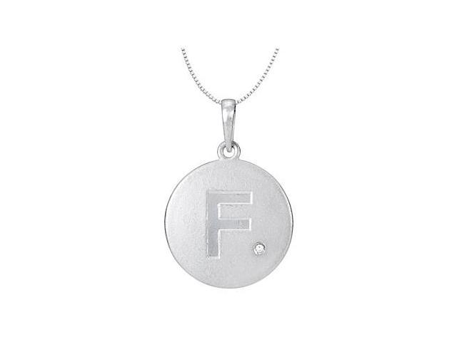 Block Disc Initial F Pendant with Single Diamond Accent in 14K White Gold 16 Inch Necklace