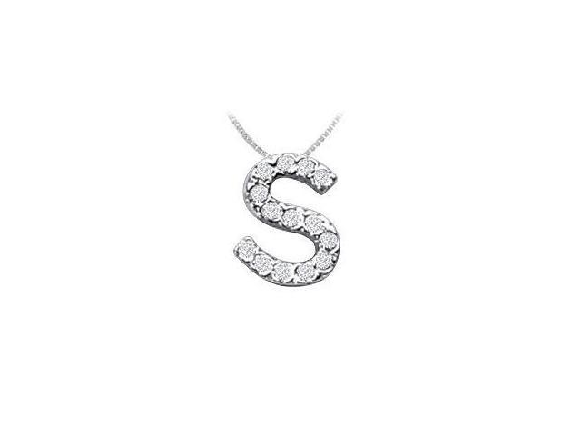 CZ Initial Sterling Silver S Pendant
