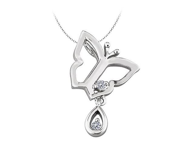 Butterfly Pendant Necklace with Cubic Zirconia  in Sterling Silver 0.05 CT TGW