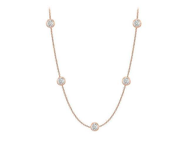 Diamonds By The Yard Necklace in 14K Rose Gold Bezel Set 0.50 ct. tw