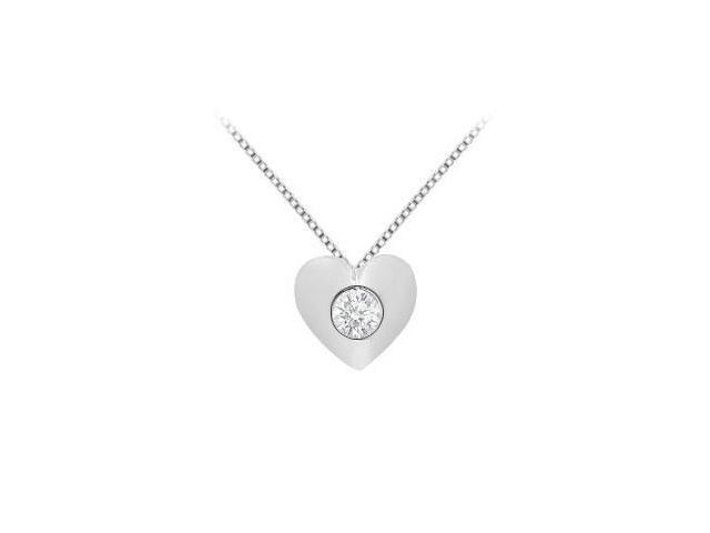14K White Gold Heart Design Pendant with Single 0.10 Carat Diamond