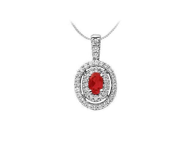 Ruby and Diamond Pendant  14K White Gold - 1.00 CT TGW