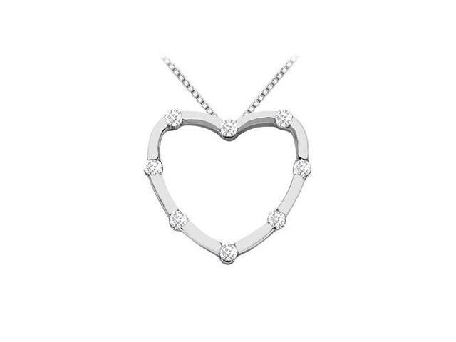 Brilliant Cut Round Diamond Heart Design Pendant in 14K White Gold 0.50 Carat Diamonds
