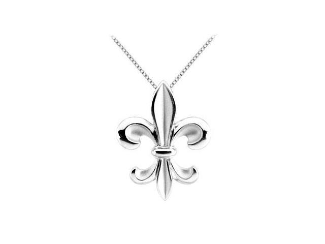 Fleur de lis Pendant in Rhodium Treated .925 Sterling Silver