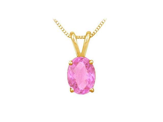 Pink Topaz Solitaire Pendant  14K Yellow Gold - 1.00 CT TGW