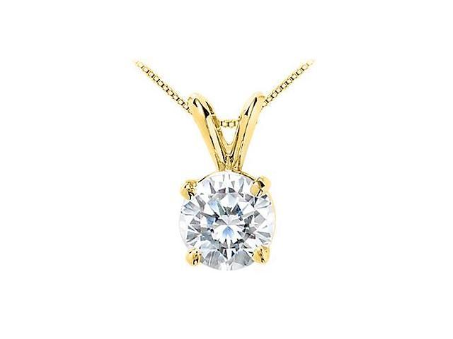 Cubic Zirconia Solitaire Pendant 10 Carat Brilliant Cut Triple AAA Quality in 14K Yellow Gold