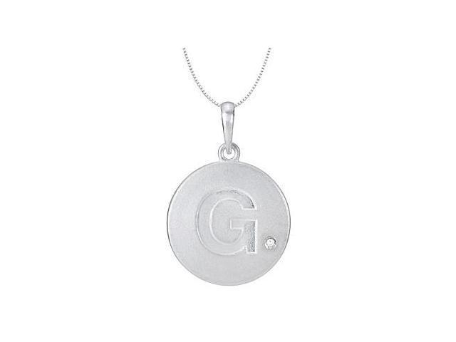 Block Initial G Disc Pendant From Polished 14K White Gold with Single 0.005 Carat Diamond