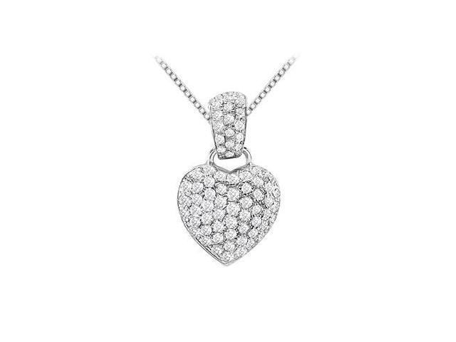Pave Set Diamond Heart Design Pendant in 14K White Gold 0.50 Carat Diamonds