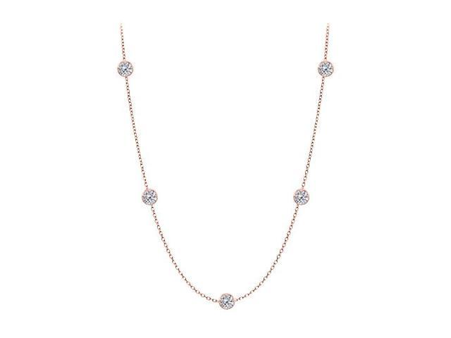 Diamonds By The Yard Necklace in 14K Rose Gold Bezel Set 0.75 ct.tw