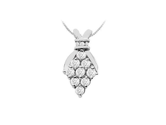 Brilliant Cut Diamond Pendant in 14K White Gold 1.00 Carat Diamonds