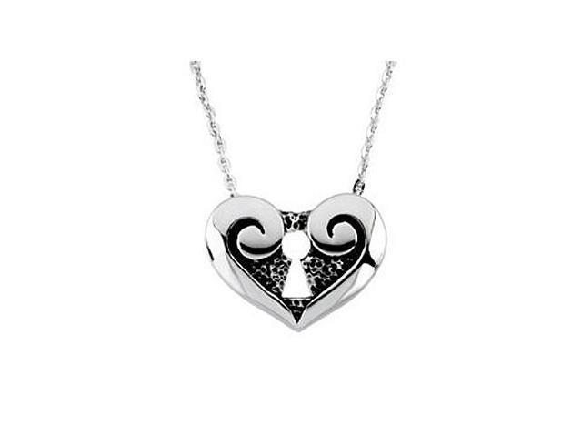 .925 Sterling Silver The Covenant Daughter Purity Heart Pendant 13.00X17.25MM with 18 Inch Chain