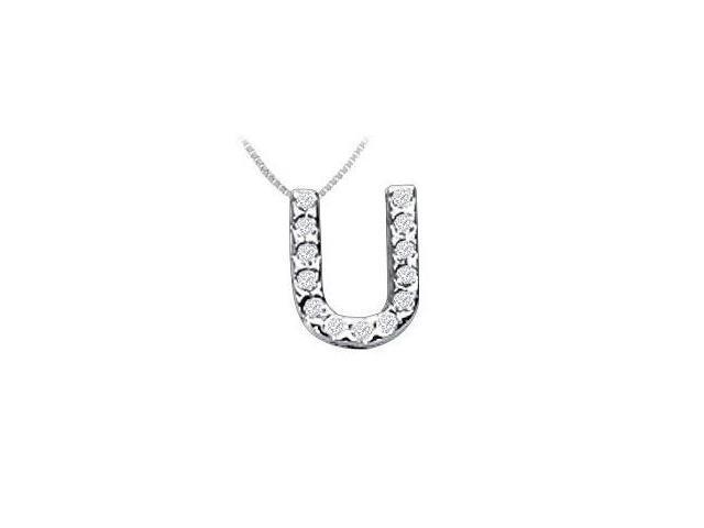 Classic U Initial Diamond Pendant  14K White Gold - 0.15 CT Diamonds