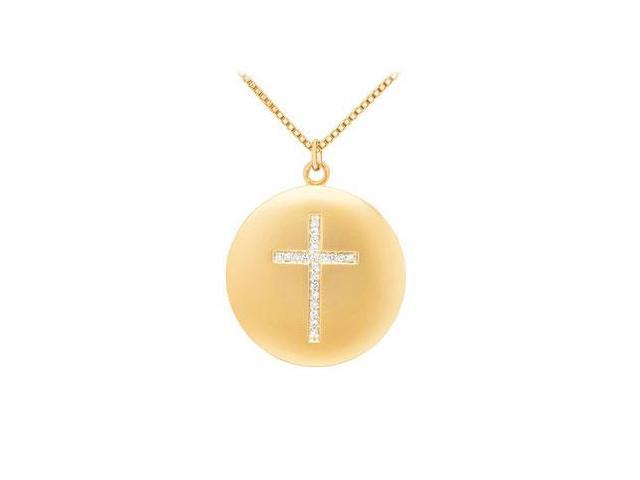 Diamond Cross Pendant  14K Yellow Gold - 0.10 CT Diamonds