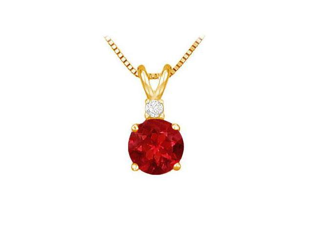 Diamond and Ruby Solitaire Pendant  14K Yellow Gold - 1.00 CT TGW