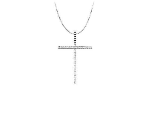 CZ Sterling Silver Large Cross Pendant with Tiffany Chain