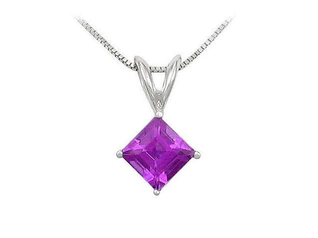 Amethyst Solitaire Pendant  14K White Gold - 1.00 CT TGW