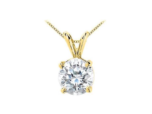 14K Yellow Gold Cubic Zirconia Solitaire Pendant 25 Carat Brilliant Cut Triple AAA Quality