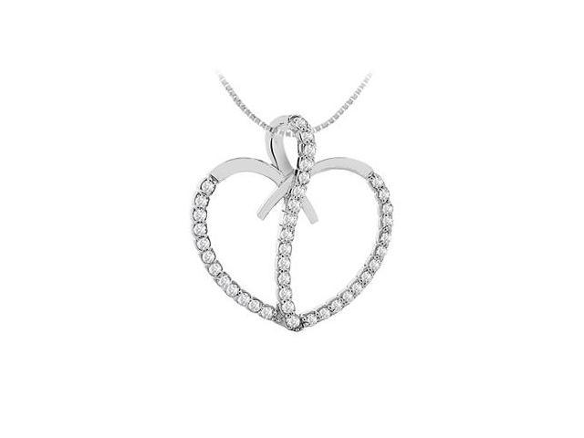 14K White Gold Diamond Heart shape Pendant with 0.66 Carat Diamonds