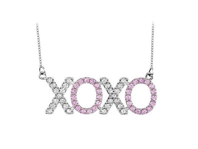 Diamond and Pink Sapphire XOXO Necklace in 14K White Gold 1 Carat Total Gem Weight