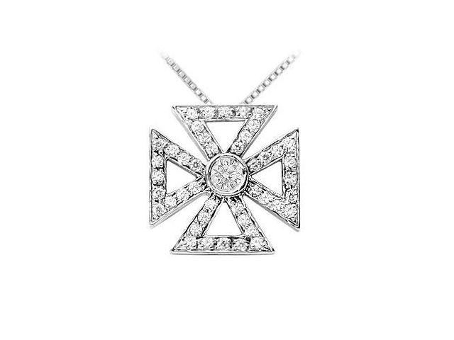 Diamond Maltese Cross Pendant  14K White Gold - 0.75 CT Diamonds