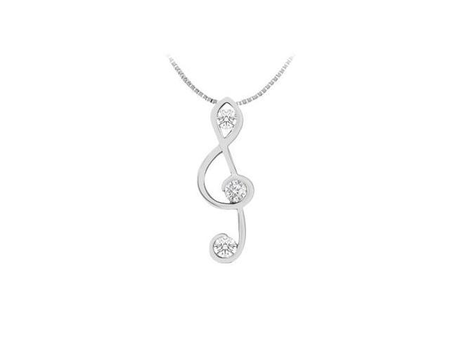 Musical Note Pendant with Three diamond in 14K White Gold 0.12 Carat Diamonds