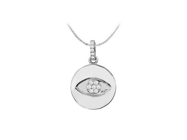 Diamond Evil Eye Disc Pendant in 14K White Gold 0.15 Carat Diamonds