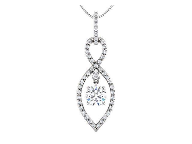 Infinity Inspired Pendant in 14K White Gold with Triple AAA Quality CZ Totaling 1.50 Carat