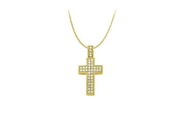 Pave Cubic Zirconia Cross Pendant in Yellow Rhodium over Sterling Silver with Tiffany Chain