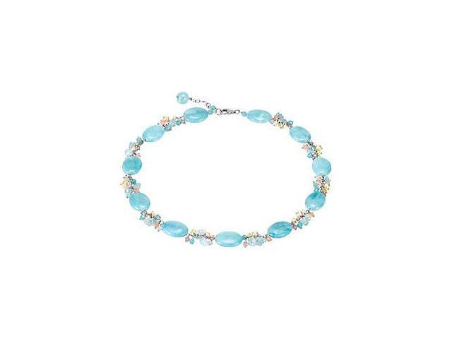 Genuine Dyed Blue Quartz and Multi Color Gemstone Necklace in .925 Sterling Silver in 18 Inch